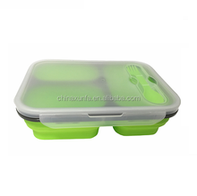 Silicone Microwaveable Collapsible Food Container 3- Compartments Leak Proof Silicone Bento Lunch Box Waterproof Lunch Boxes