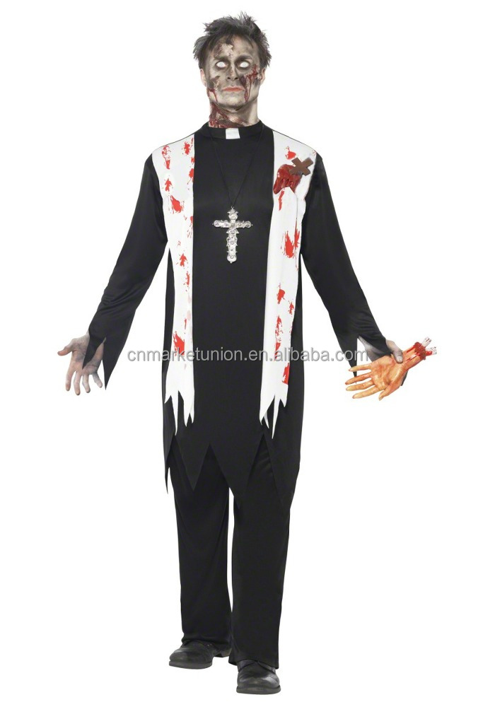 Day Of The Dead Priest Costume Halloween Fancy Dress