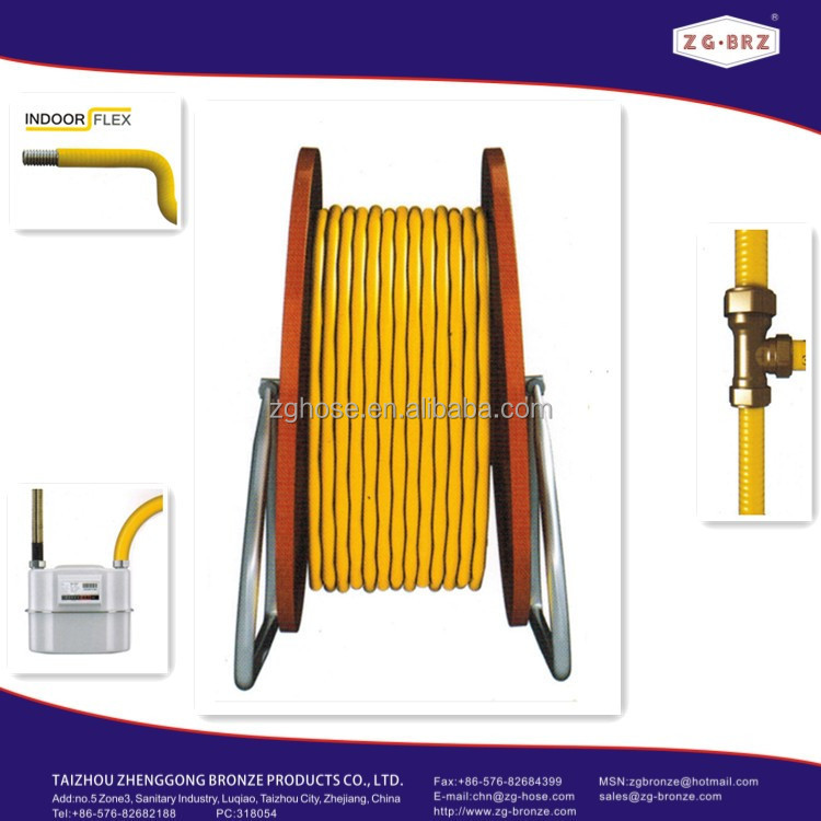 EN15266 yellow <strong>stainless</strong> metal natural gas hose