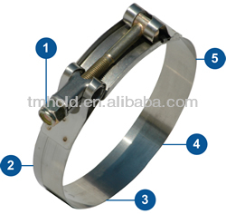 small sizes galvanized steel t-bolts band pipe clamps types