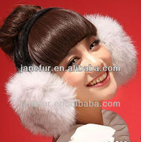 2017 wholesale Fashion Real Fox Fur Earmuff/ Winter Earmuffs ---hot selling