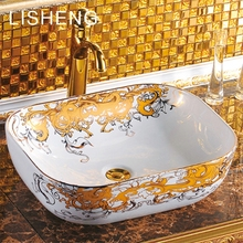 High-end exquisite decals square decorate art bathroom ceramic sink face washing bowl counter basin