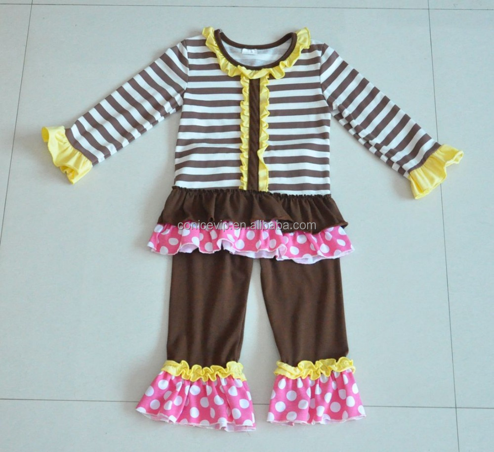 Wholesale round collar ruffle fringe children fall causual clothing set