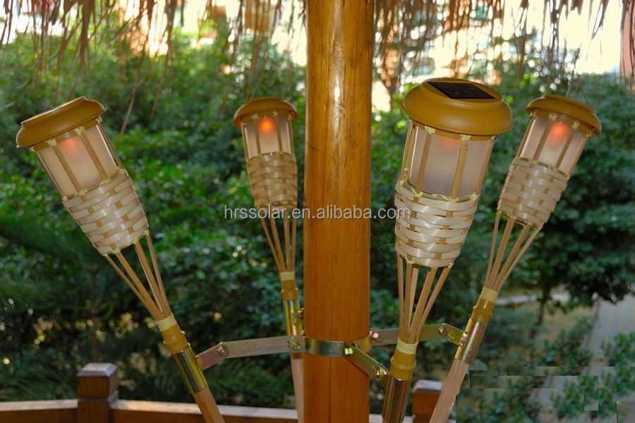 Garden Yard Party Solar Light Tiki Torches Adjustable Height Poles