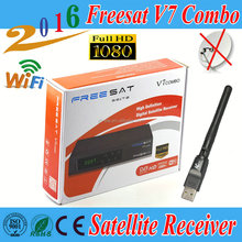 Freesat V7 Combo DVB-S2 DVB-T2 Receptor Satellite Receiver Support PowerVu Biss Key Newcam Cccam Youtube,1pcs USB WIFI free gift