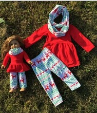 Christmas Americe doll/kids 2 sets FALL/Winter OUTFITS scarf pant girls reindeer Aztec boutique clothes kids turquoise sets