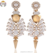 EYQ-00013 New Model 2015 Long 18K jewelry ladies fashion luxury arylic alloy earring rhinestone crystal designs for women