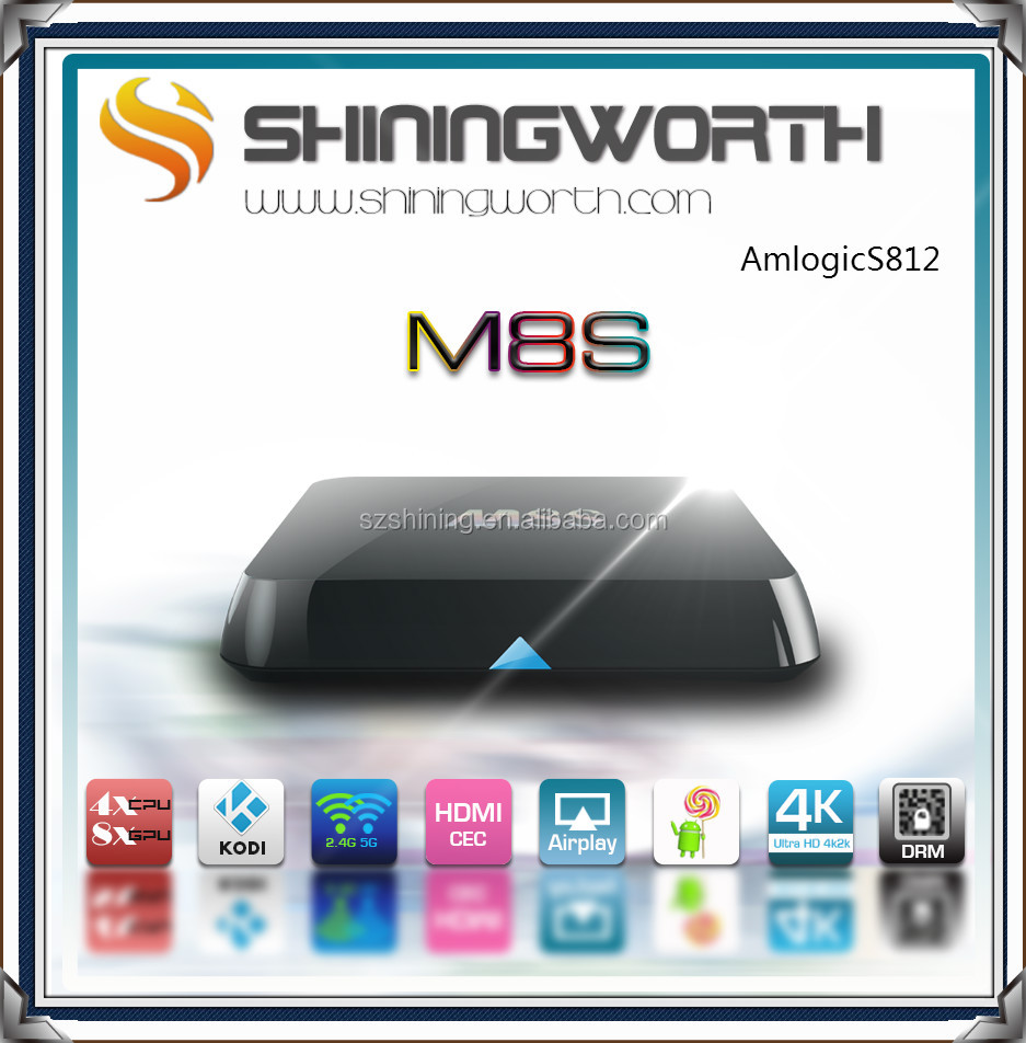 2016 Best Selling android 5.1 Smart Tv Box M8S Plus 10/100/1000M Ethernet add 1000M arabic iptv box