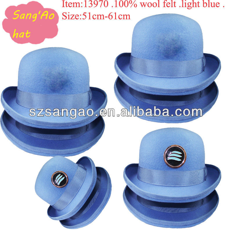 Making Blue felt mens bowler hats for sale uniform/airline wool felt winter for man/women100%wool with lining as pantone color .