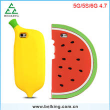 2016 New Fashion for iPhone Cute Watermelon Silicon Cover Case,for iPhone 6s plus Blanana Silicon Cover Case