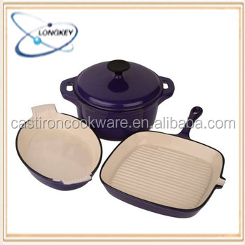 Hot New Products Purple Cast Iron Cookware Set for 2015