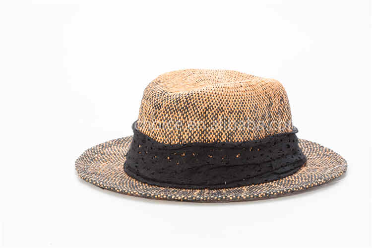 Paper straw hat woven checked cap bowler fishing boater hat for male