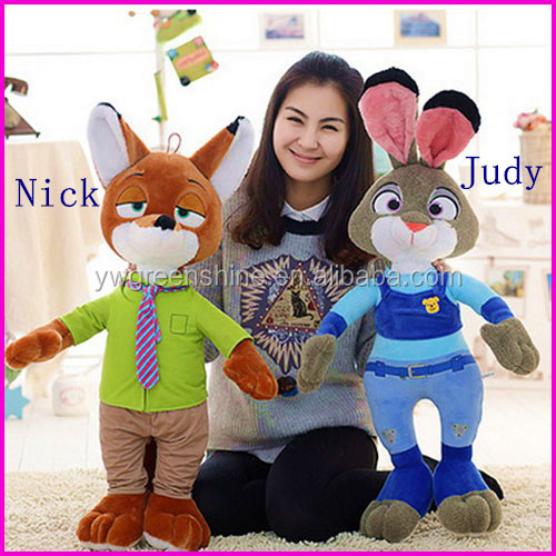 2016 China baby favorite new design hot product plush rabbit and fox doll toys with clothes ZOOTOPIA