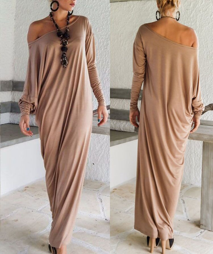 Plus Size Womens Sexy Casual Long Sleeve Maxi Dresses Loose Party Long Dress New