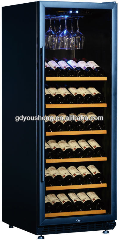 Noble design black Aluminum Alloy door and wooden racks wine cabinet USF-128S with single zone