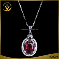 White gold plated ruby pendant jewelry simple red crystal necklace