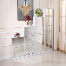 Modern 5 drawers rotating shoe rack cabinet with mirror