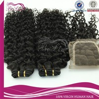 brazilian deep curl hair weaving with three /middle/ free part lace closure fast delivery