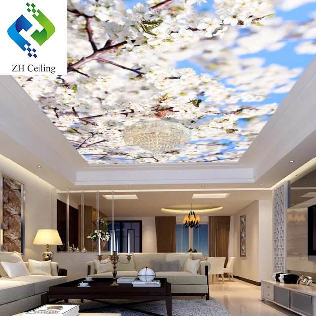 4mWx2.6mH per piece New Morden Decoration Tiles ZH Ceiling 3D Visual peachblossom Print PVC Stretch Ceiling Film