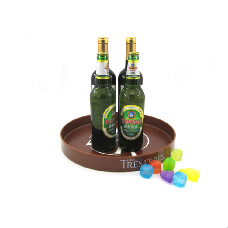 Custom Round Shape Anti-Slip BarTray BeerTray Serving Tray With Logo Design