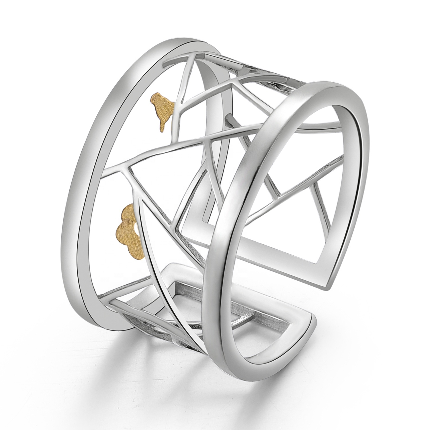 Creative Paper-cut sterling silver rings <strong>jewelry</strong>