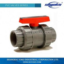 THREAD AND SOCKET END PVC DOUBLE UNION BALL VALVE ASTM STANDARD GREY COLOR