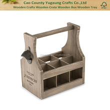 Personalized Drink Beer Wood Bottle Caddy with Opener
