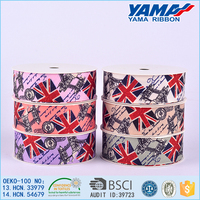 Classical england flag printed grosgrain ribbon
