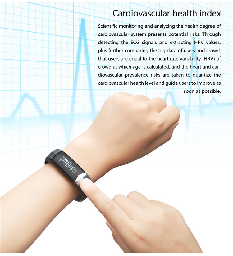 Wearable Hardware+Smart App+Big Data Cloud Service CD01 ECG+PPG Smart Wrist band