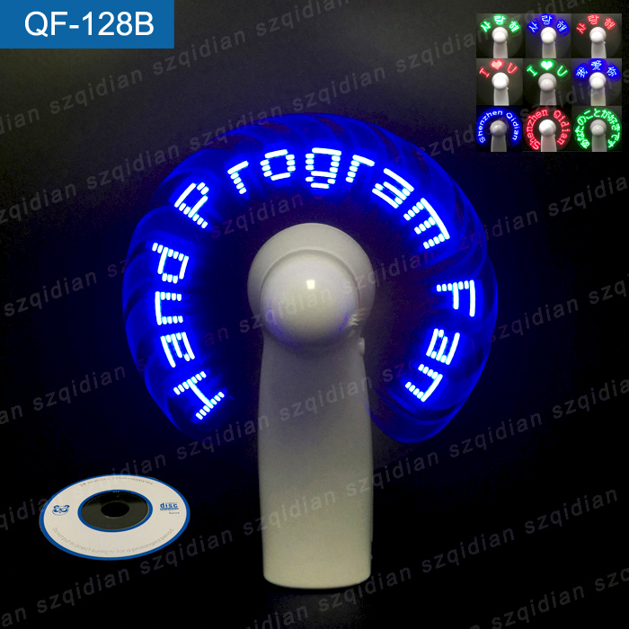 Funny Self Programmable USB Light Up LED Messag Air Cooler Portable Mini Handheld Standing Fan