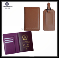 PU Leather Business ID Passport Holder Cover with luggage tag
