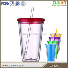 16oz Double Wall clear straw cup With Customized Lid