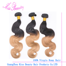2017 hot style three tone ombre brazilian hair weave wet and wavy Fast Delivery