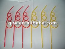 yellow plastic drinking straw with logo printing