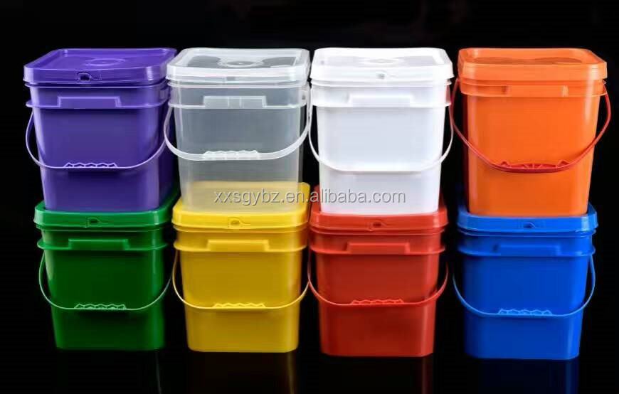 5 Gallon Square Food Grade Plastic Bucket pail with lid & handle