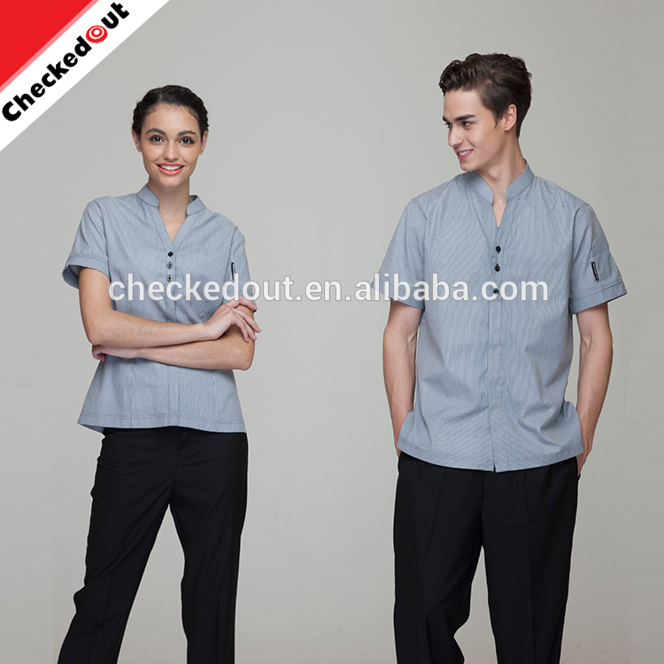 Hot sale restaurant waiter shirts ,colorful loose worker hotel reception uniform