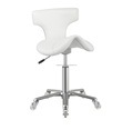 White Color Salon Chair saddle Stool with Backrest PVC Furniture