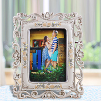 2015 new Promotion polyresin grey vintage style hot sale 3D effect college decoration wedding photo frame 0.55kg 5x7 inch BY001