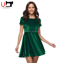 Sexy Lady Fashion Christmas Green Short Sleeve High Waist Woman's Velvet Evening Prom Dress