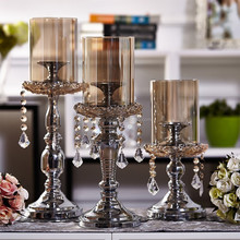 Beautiful Crystal Tall Glass Long-Stemmed Candle Holder For Decoration