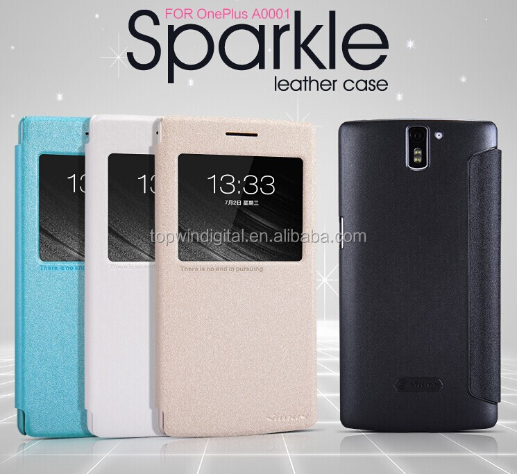 Wholesale Nillkin Sparkle Series Flip Smart Fancy Cell Phone Case For Oneplus One