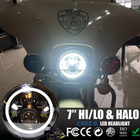"NEW Harley/Jeep led motorcle headlight 45W Angel eyes Projector 7 inch round headlight 7""Harley headlight For JEEP JK CJ LJ TJ"
