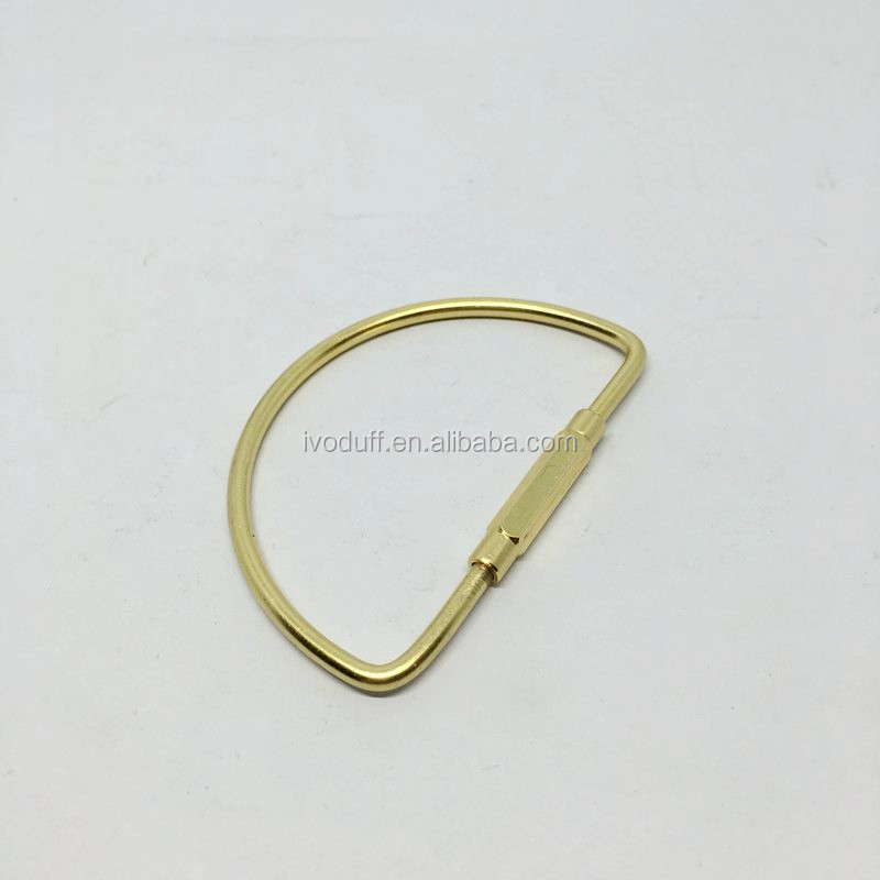 Solid Brass Material D Shape Clasp Key ring, Metal Key ring for sale