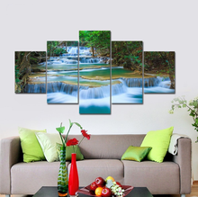 Large Peaceful Waterfall 5 Panels Modern Canvas Print Artwork Landscape Pictures Photo Paintings on Canvas Wall Art