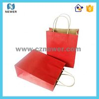 Cheap Christmas brown kraft paper gift tote bags wholesale price