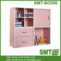 pink color melamine MDF PB displaying bookshelf