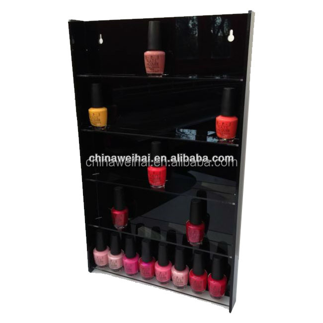 black acrylic nail polish wall mount display case