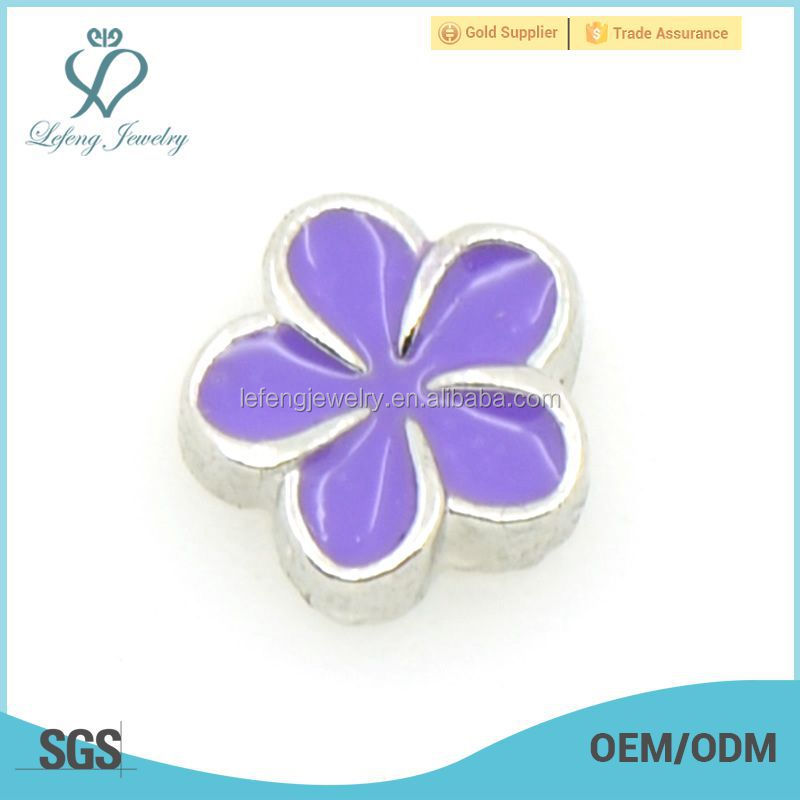 Custom made silver & purple flower pendant charms, charms for bracelet making