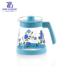 water glass pitcher , good quality glass tea pot with plastic handle