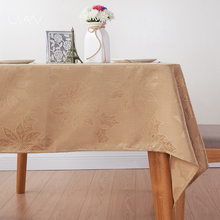 Jacquard Coffee Color Leaves Pattern Christmas Table Cloth